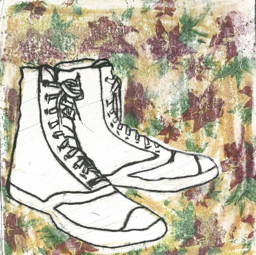 Boxer Boots 1, 2012, 11x11cm, Dry Point Etching w- Transfer